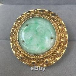 Bague Vintage Antique En Jade Sculpté, Chine, En Filigrane D'argent Taille 6 1/4