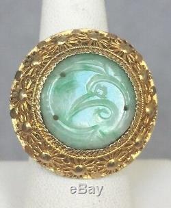 Bague Vintage Antique En Jade Sculpté, Chine, Filigrane D'argent Taille 6 1/4