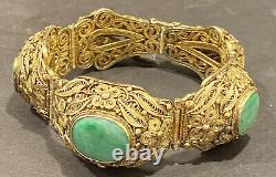 Beau Bracelet Chinois Chinois De Jadeite De Filligree D'argent Doré