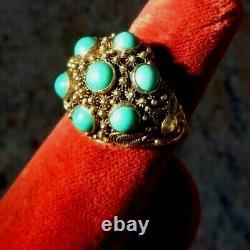 Beau Vintage (1950) Filigrane D'argent Gilt Chinois & 7 Turquoises Taille De Bague 7