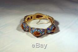 Beaux Chinois Gilt Argent Filigrane Émail Et Tiger Bracelet Pierres Eye B493