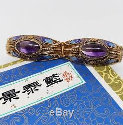 Beaux Vintage Chinois Gilt Argent Filigrane & Améthyste Émail Bracelet Travailler Avec Boîte