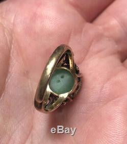 Belle Antique C. 1900 Chinois Jade & Vermeil Bague Design Coeur
