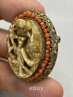 Belle Antique Chinoise Gilt Silver Filiggree Coral & Carved Lady Brooch Pin