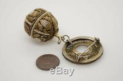 Belle Antique Silver Gilt Chinese & Seed Perles Filigrane Fruit Pomander Broche