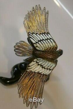 Belle Chinoise Gilt Argent Filigrane & Émaillé Figurine Avec Une Paire De Hawks
