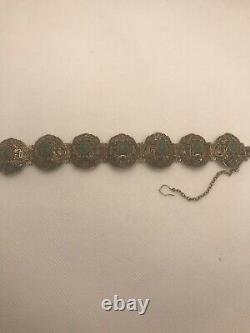 Belle Exportation Chinoise Antique Détaillée Argent Gilt Bracelet Aventurine 36g