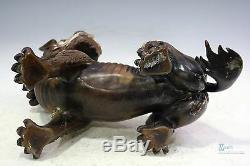 Belle Licorne Chinoise En Bronze Doré Et Argent