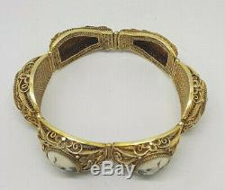 Belle Rare Chinoise D'exportation Filigrane Scrimshaw Argent Massif Doré Bracelet
