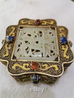 Bijou En Argent Doré Chinois Incrustés Boîte De Bijoux Anciens Bijoux Boîte Royale
