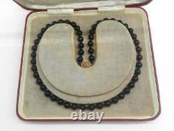 Black Jade Perle Unisex Collier Or Sur Fermoir Argent Vintage Chinese Import 1950