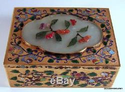 Boîte À Écureuil En Argent Doré Et Émail Avec Une Jade Et Un Cinabre Sculptés, Xixe