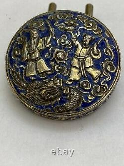 Boîte Antique Rare Chinoise D'émail Bleu Argent Doré