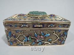 Boîte D'exportation Antique Asiatique Filiggree Chinois Argent Gilt Émail Jade C 1910