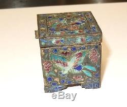 Boîte De Pots À Timbres En Bronze À Émail Repoussé Avec Émaux Cloisonnés