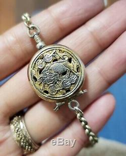 Boîte En Argent Pendentif Antique Doré Chinois