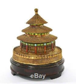 Boîte En Émail En Argent Sterling Doré À La Chinoise, Support En Bois Du Temple Du Ciel De Pékin