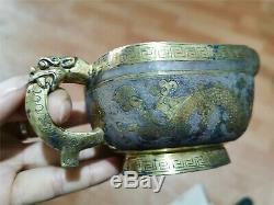 Bols D'or Et D'argent Chinois Tasses Main En Bronze Doré Carve Ramequins Motif De Dragon