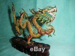Bonne Argent Sterling Chinois Gilt Émail Dragon Figure Sur Stand