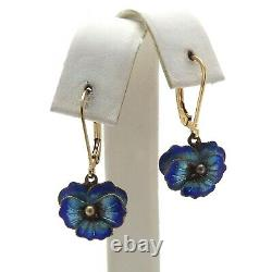 Boucle D'oreille Chinoise Enamel Cloissone Sterling Silver 14k Gold Filled Pansy Leverback