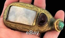Boucle De Ceinture, Dynastie Qing, Bronze Doré Antique, Jade Malachite Et Grenat De Chine