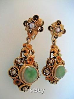 Boucles D'oreille En Argent Doré, Jade Et Perles Baroques