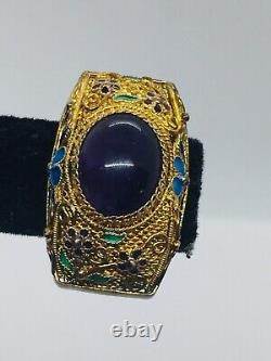 Boucles D'oreilles Chinois Vintage Argent Sterling Or Vermeil Amethyst Filipgree
