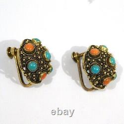 Boucles D'oreilles Chinoise Gilt Silver Filigrane Turquoise Coral