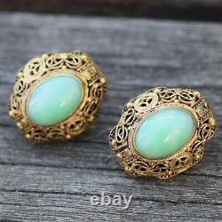 Boucles D'oreilles Chinoises Antiques En Filigrane Doré Faites À La Main Avec Jade 50's