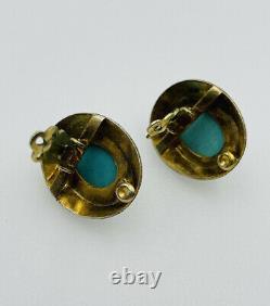 Boucles D'oreilles Chinoises Vintage Argent Sterling Or Vermeil Bleu Turquoise