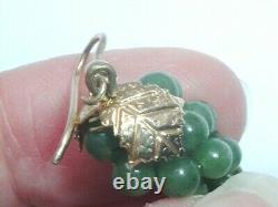 Boucles D'oreilles De La Goutte De Feuille D'argent Chinois Antique Gilt Jade