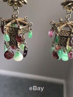 Boucles D'oreilles De Lustre En Tourmaline Chinoise Antique En Argent Doré Avec Jade Et Tourmaline