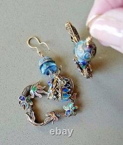 Boucles D'oreilles Dragon Chinoises Gilt Sterling Enamel Filigree Antique