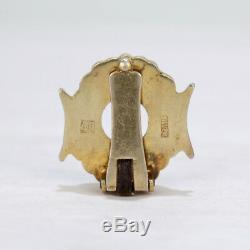 Boucles D'oreilles En Argent Doré À La Chinoise, Signé Old Ou Antique