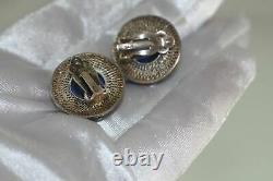 Boucles D'oreilles En Émail Sodalite En Argent Gilt Chinois Antique Vintage