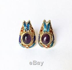 Boucles D'oreilles En Filigrane D'argent Doré Vintage À L'export Et Émaux D'améthystes