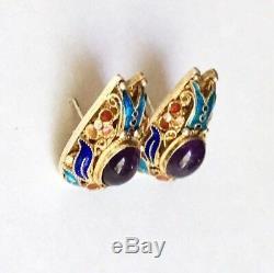 Boucles D'oreilles En Filigrane D'argent Doré Vintage À L'exportation En Émaux D'améthyste, Messages Des Années 1960