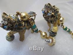 Boucles D'oreilles En Filigrane Doré Doré À La Main, Vintage, Chinois, Lion Foo Dog