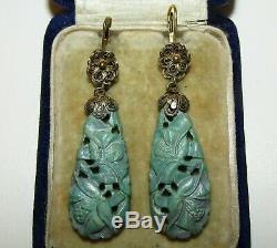 Boucles D'oreilles Exquises, Antiques, Turquoises Ciselées En Argent Doré À La Chinoise