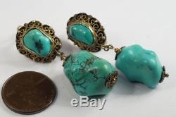 Boucles D'oreilles Perles Matrix Vintage Chinois Doré Turquoise Chunky