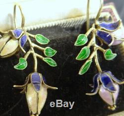 Boucles D'oreilles Vintage En Argent Avec Fleurs Emaillées, Chine