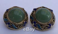Boucles D'oreilles Vintage Jade Vert Ancien Exportation Chinoise En Argent Doré Émail Bleu