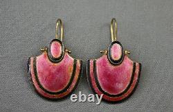 Boucles D'oreilles Vtg 900 Silver Gilt Chinese Export Art Déco Pink Black Vermeil (s-42)