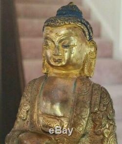 Bouddha En Argent Doré, Bronze Fin 18ème