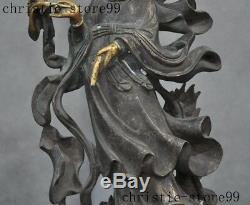 Bouddhisme Doré Chinois Joss Dragon Kwan-yin Guanyin Déesse Statue De Bouddha