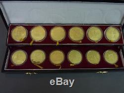 Boxed Set De 12 En Argent Massif Gilt Médaille Chinoise / Coins Animaux Du Zodiaque 1981-1992