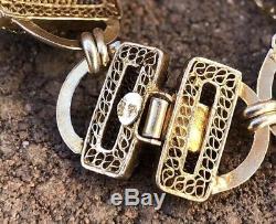 Bracelet À Maillons En Filigrane Noir Sur Onyx Noir Et Or Antique Avec Émaux Chinois