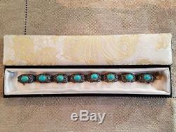 Bracelet À Maillons Vintage En Argent Doré À La Turquoise Et En Argent 925, Menthe