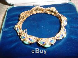 Bracelet À Maillons Vintage En Argent Doré Et Argent 925 Avec Turquoise Et Émail
