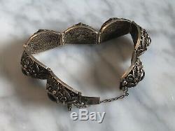 Bracelet À Panneau Décoré Avec Oeil De Tigres En Argent Doré Sur Doré Antique